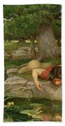 Echo And Narcissus Beach Towel by John William Waterhouse