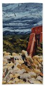 Echoes Of Tularosa, Museum Hill, Santa Fe, Nm Beach Towel by Erin Fickert-Rowland