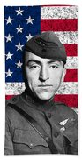 Eddie Rickenbacker And The American Flag Beach Towel by War Is Hell Store