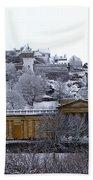 Edinburgh Castle And National Galleries Of Scotland In Winter Beach Towel