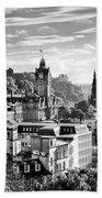 Edinburgh From Calton Hill.    Black And White Beach Towel