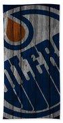Edmonton Oilers Wood Fence Beach Towel
