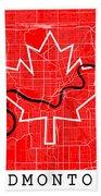 Edmonton Street Map - Edmonton Canada Road Map Art On Canada Flag Symbols Beach Towel