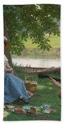 Edmund Blair Leighton 1852-1922 A Picnic Party Beach Towel