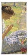 Edmund Charles Tarbell - Mercie Cutting Flowers 1912 Beach Towel
