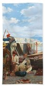Eduardo Matania - Fishing Family In The Bay Of Naples 1872 Beach Towel