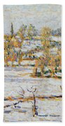 Effect Of Snow At Eragny Beach Towel by Camille Pissarro