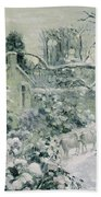 Effect Of Snow With Cows At Montfoucault Beach Towel by Camille Pissarro
