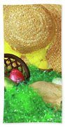 Eggs And A Bonnet For Easter Beach Towel