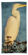 Egret At Dusk Beach Towel