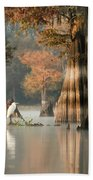 Egret Enjoying Foggy Morning In Atchafalaya Beach Towel