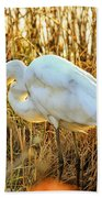 Egret Fishing In Sunset At Forsythe National Wildlife Refuge Beach Towel