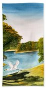Egret Flying Over Texas Landscape Beach Towel
