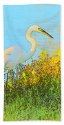 Egret In The Lake Shallows Beach Towel