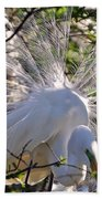 Egret In The Thicket Beach Towel