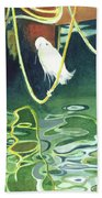 Egret On A Rope Beach Towel