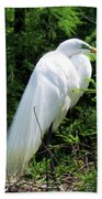 Egret On Guard Beach Towel