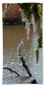 Egret On Stump Beach Towel