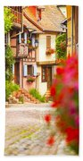 Half-timbered House, Eguisheim, Alsace, France  Beach Towel