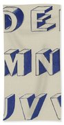 Egyptian For Carving Vintage Blue Font Design Beach Towel