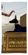Egyptian Woman And Anubis Statue Beach Towel