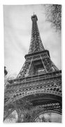 Eiffel Tower And Lamp Post Bw Beach Towel