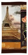 Eiffel Tower And Roses Beach Towel