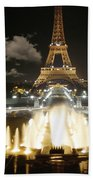 Eiffel Tower At Night Beach Towel