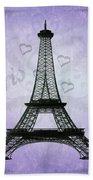 Eiffel Tower Collage Purple Beach Towel