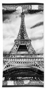 Eiffel Tower In Black And White Design II Beach Towel