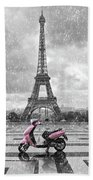 Eiffel Tower In The Rain With Pink Scooter Of Paris. Black And W Beach Towel