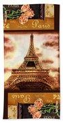 Eiffel Tower Roses Dance Beach Towel
