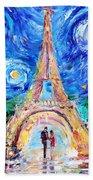 Eiffel Tower Starry Night Romance Beach Towel