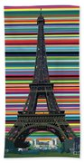 Eiffel Tower With Lines Beach Towel by Carla Bank