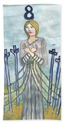 Eight Of Swords Illustrated Beach Towel