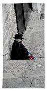 Elderly Beggar In Chordeleg Beach Towel