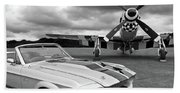 Eleanor Mustang With P51 Black And White Beach Towel