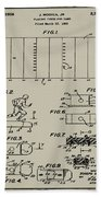 Electric Football Patent 1955 Aged Gray Beach Towel