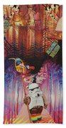 Electric Forest-people Building Houses In The Trees Beach Towel