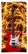 Electric Guitar With Sparks Beach Towel
