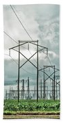 Electric Lines And Weather Beach Towel
