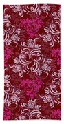 Elegant Red Floral Design Beach Towel