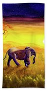 Elephant In Purple Twilight Beach Towel