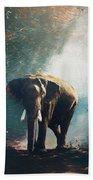 Elephant In The Mist - Painting Beach Towel