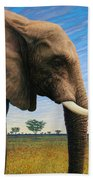Elephant On Safari Beach Towel