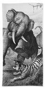 Elephants And Tiger, 1890 Beach Towel