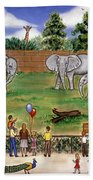 Elephants At The Zoo Beach Towel