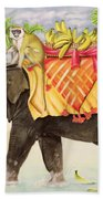 Elephants With Bananas Beach Towel