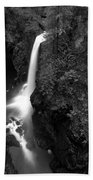 Elk Falls In The Canyon Black And White Beach Towel