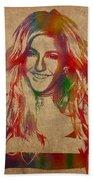Ellie Goulding Watercolor Portrait Beach Towel